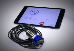 GTI USB Cross-Platform Accelerometer with iPad mini running VibeRMS